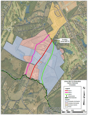 This map shows three proposed routes (pink, red and light green) for sewer lines extending from the new Jones Mill Crossing neighborhood (highlighted in yellow) to a sewer trunk line (dark green line with black dots). The city of Fountain Inn prefers the light-green line, which would run through the Hughes family's small cattle farm.