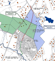 A proposed subdivision just outside Fountain Inn, shown here south of George Hughes' property (in green), will help pay for a sewer line that will extend service up Jones Mill Road to the 136-home Jones Mill Crossing subdivision at Scuffletown Road.