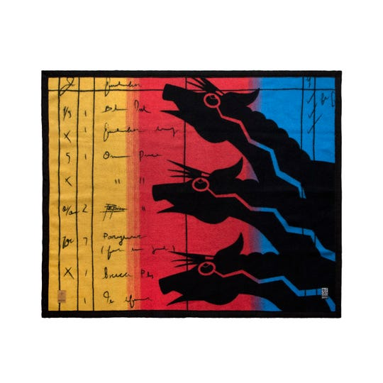 """Blackfeet artist John Pepion drew on ledger art traditions when designing a wool blanket, which will be produced by Native-owned Eighth Generation. """"The colors were inspired by the Montana skies, when the sun goes down in the mountains,"""" he said."""