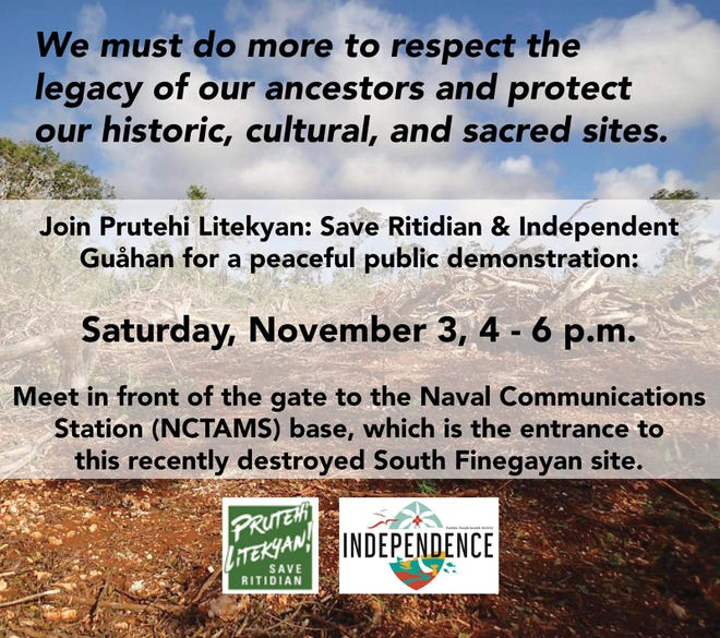 Prutehi Litekyan and Independent Guahan invite the public to a peaceful public demonstration on Saturday, Nov. 3, 2018.