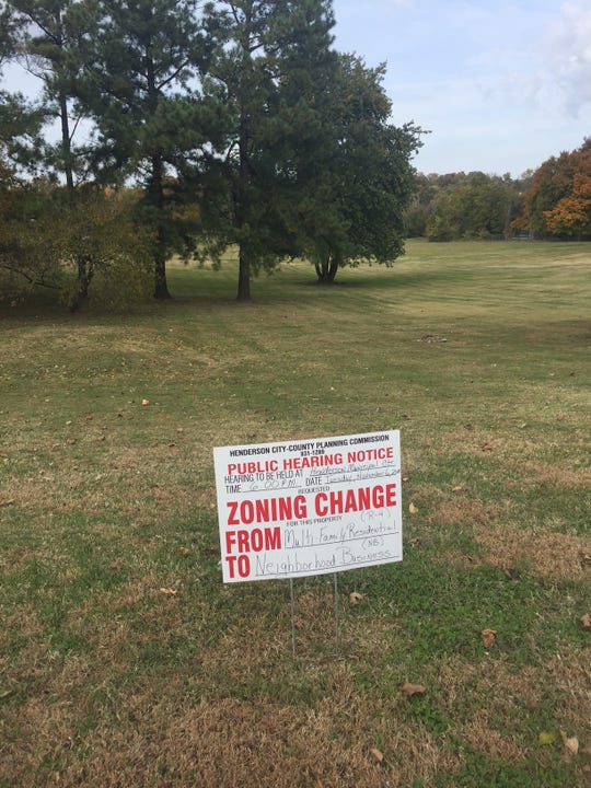 This sign, in front of the proposed site for a self-storage business, advertises the public hearing on the requested zoning change. The meeting is set for Tuesday evening at 6 p.m. at the Henderson Municipal Center