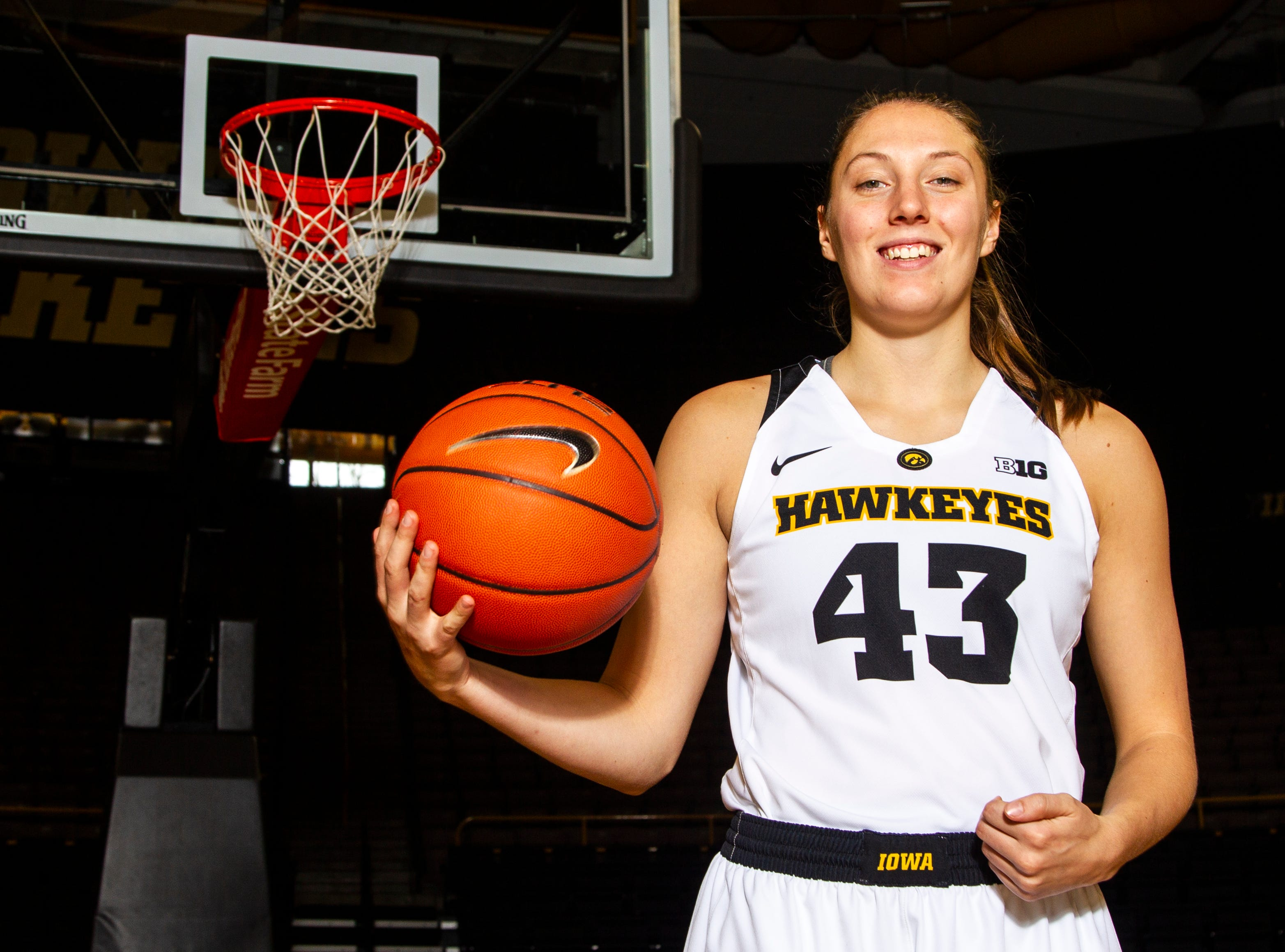 Iowa forward Amanda Ollinger (43) poses for a portrait during Hawkeye women's basketball media day on Wednesday, Oct. 31, 2018, at Carver-Hawkeye Arena in Iowa City.