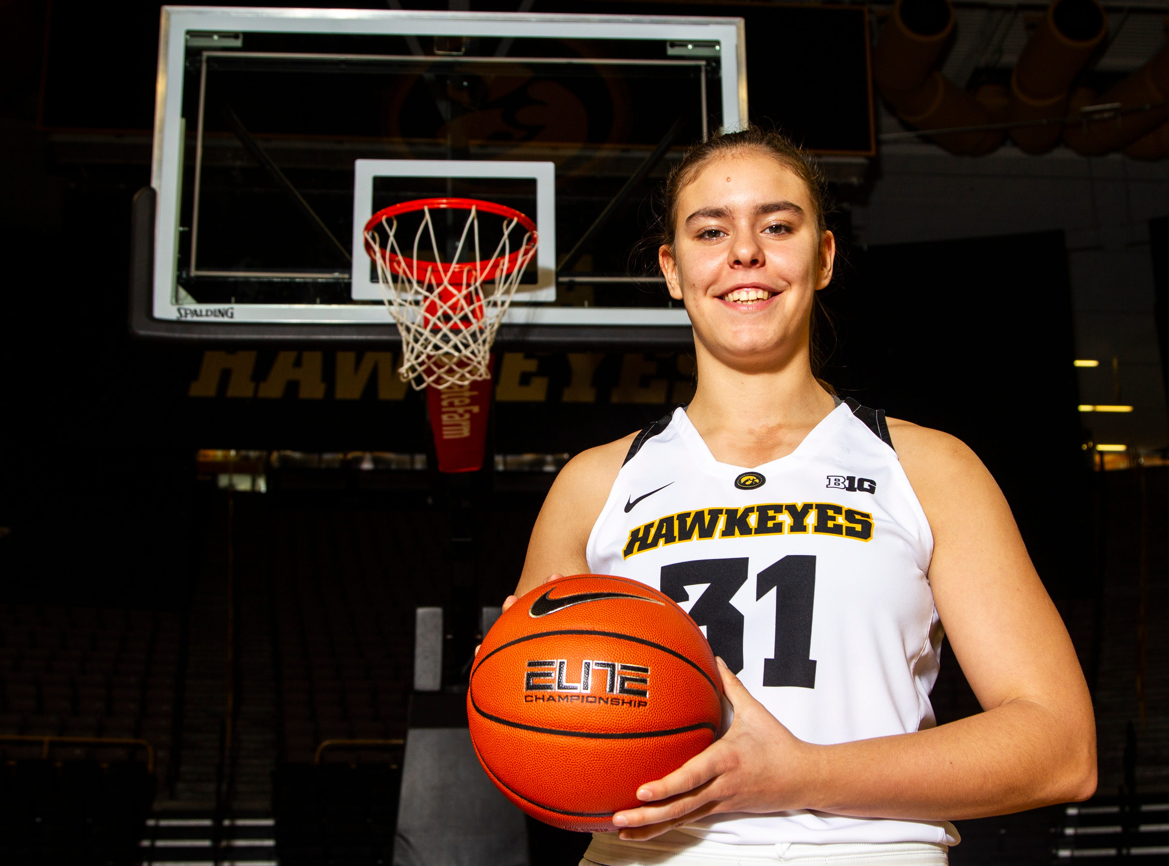 Iowa's Paula Valino Ramos (31) poses for a portrait during Hawkeye women's basketball media day on Wednesday, Oct. 31, 2018, at Carver-Hawkeye Arena in Iowa City.