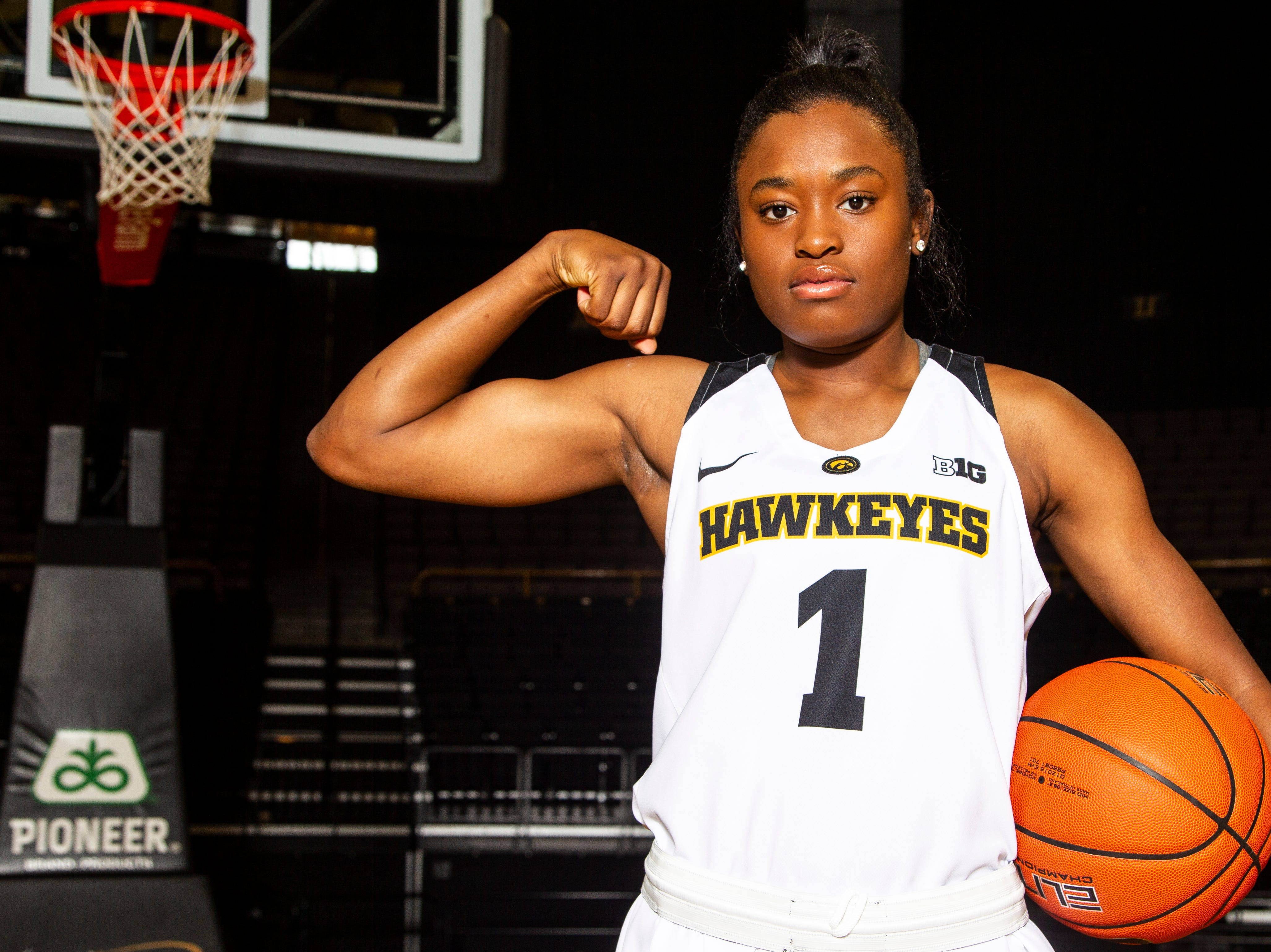 Iowa guard Tomi Taiwo (1) poses for a portrait during Hawkeye women's basketball media day on Wednesday, Oct. 31, 2018, at Carver-Hawkeye Arena in Iowa City.