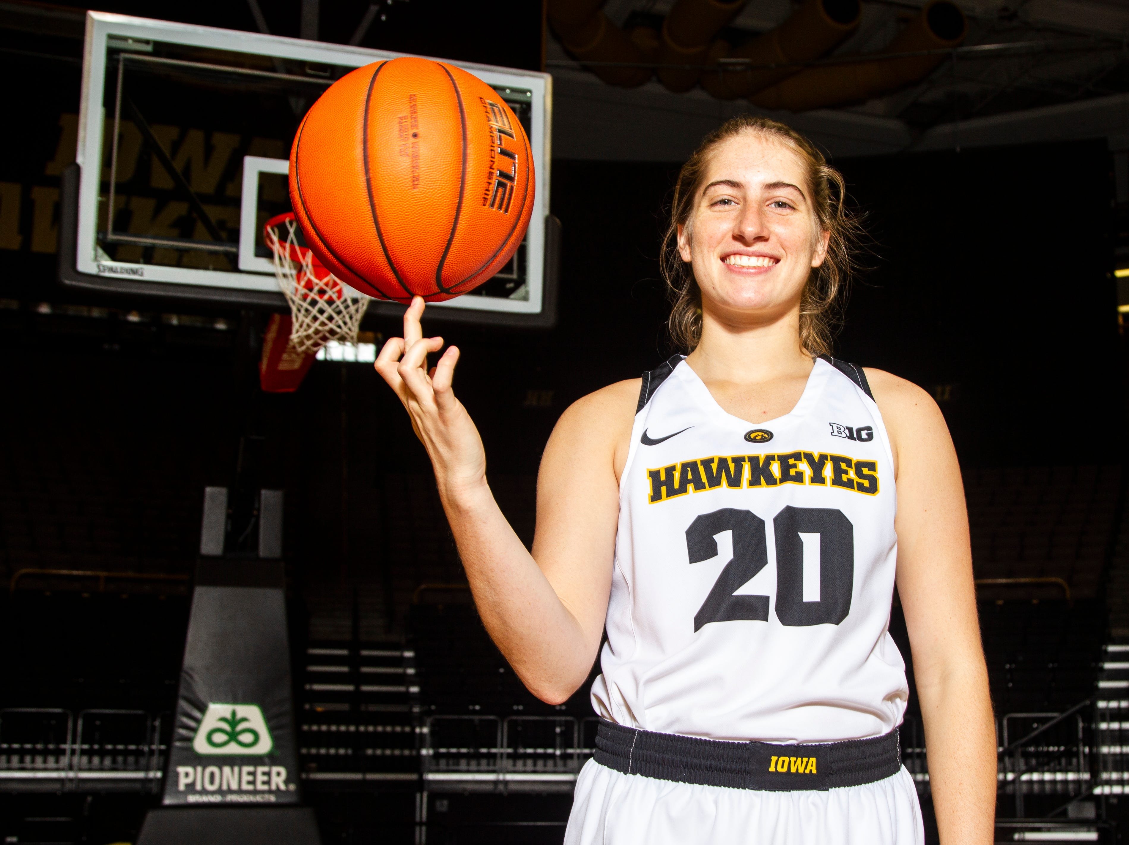 Iowa guard Kate Martin (20) poses for a portrait during Hawkeye women's basketball media day on Wednesday, Oct. 31, 2018, at Carver-Hawkeye Arena in Iowa City.