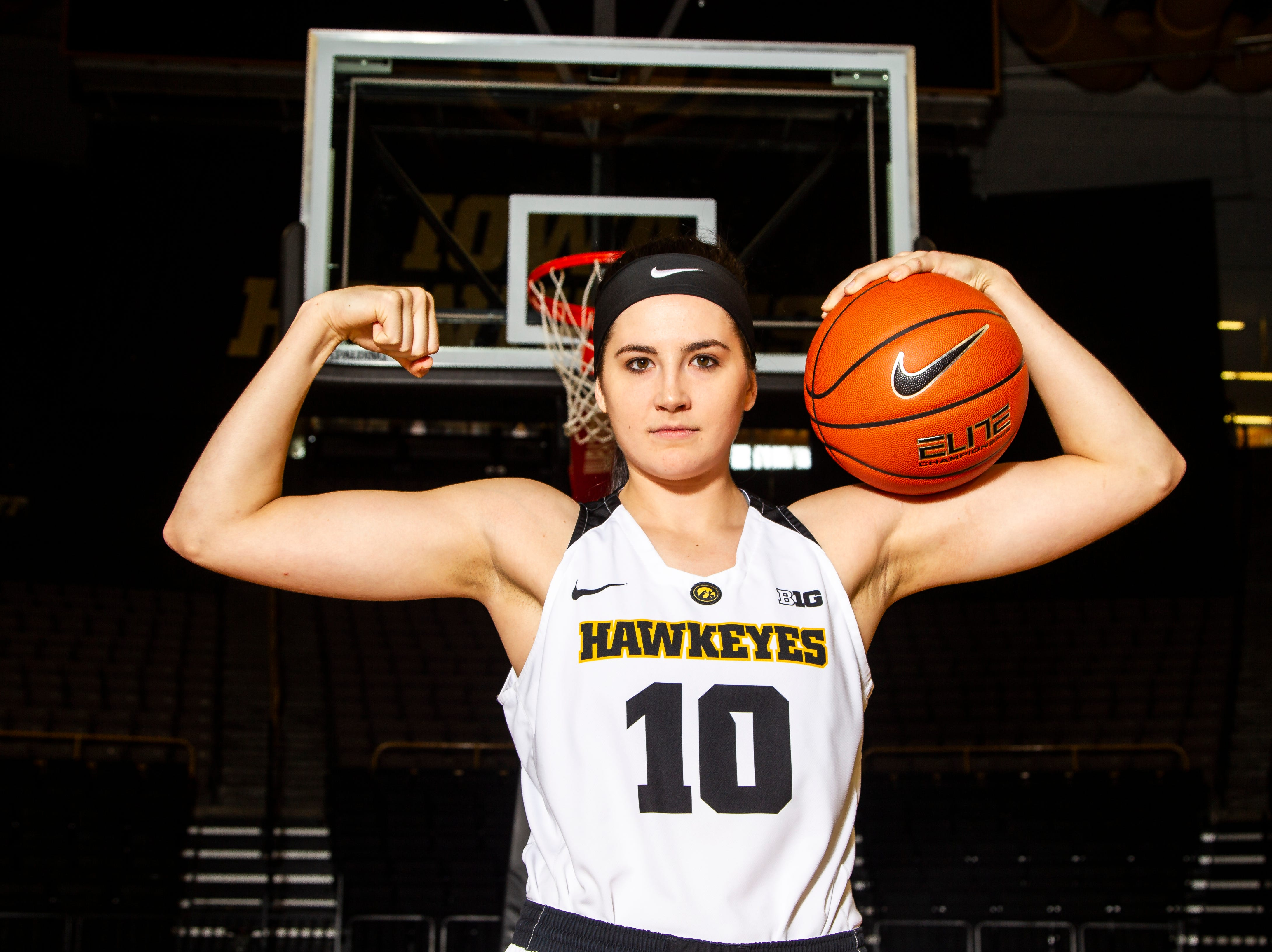 Iowa forward Megan Gustafson (10) poses for a portrait during Hawkeye women's basketball media day on Wednesday, Oct. 31, 2018, at Carver-Hawkeye Arena in Iowa City.