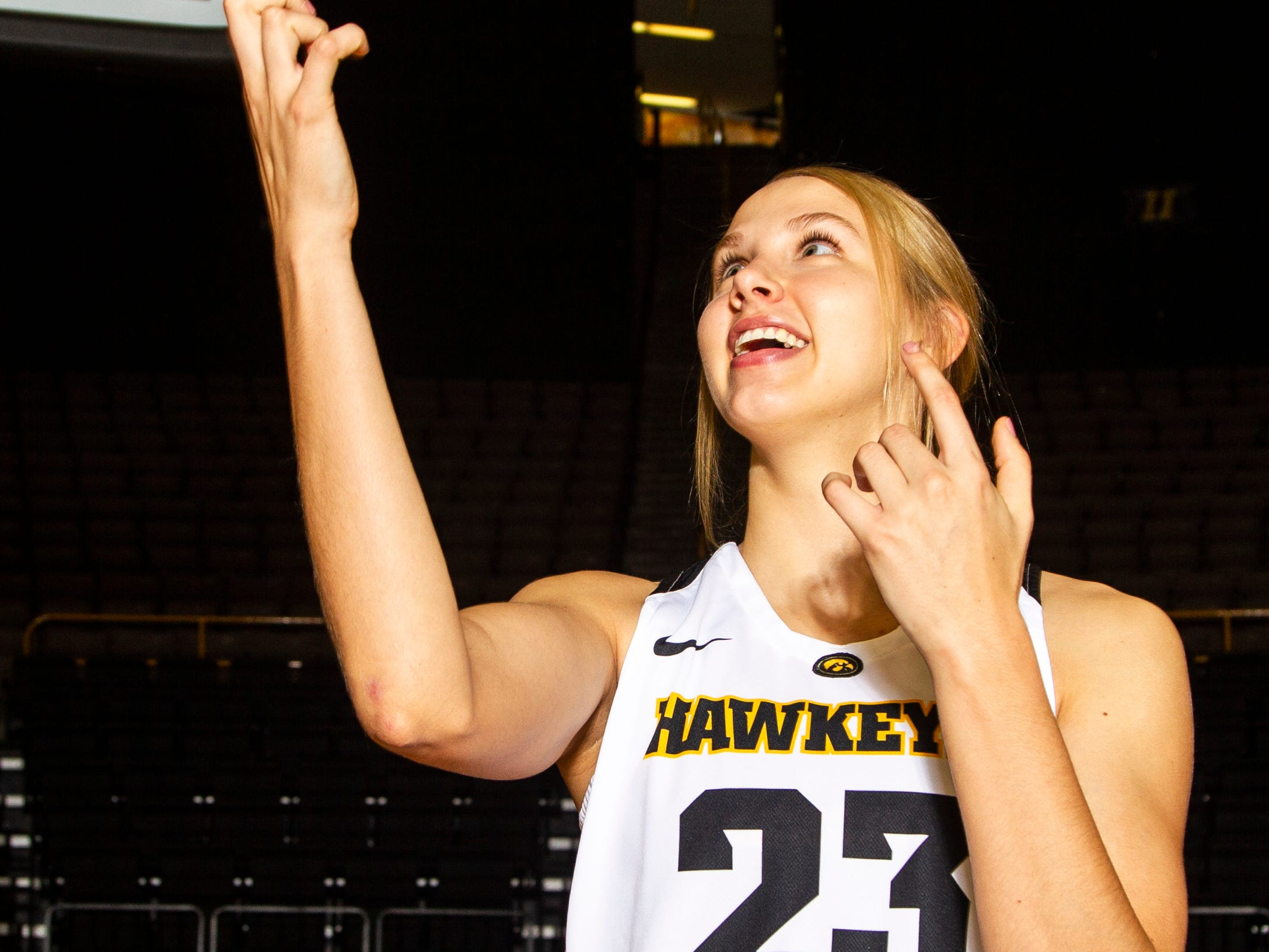 Iowa forward Logan Cook (23) poses for a portrait during Hawkeye women's basketball media day on Wednesday, Oct. 31, 2018, at Carver-Hawkeye Arena in Iowa City.