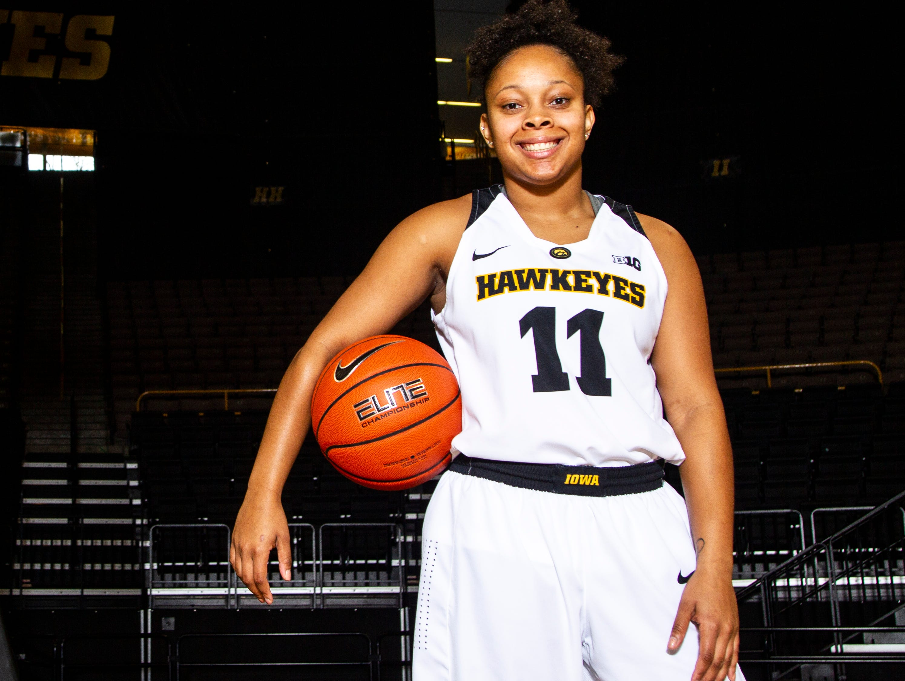 Iowa guard Tania Davis (11) poses for a portrait during Hawkeye women's basketball media day on Wednesday, Oct. 31, 2018, at Carver-Hawkeye Arena in Iowa City.