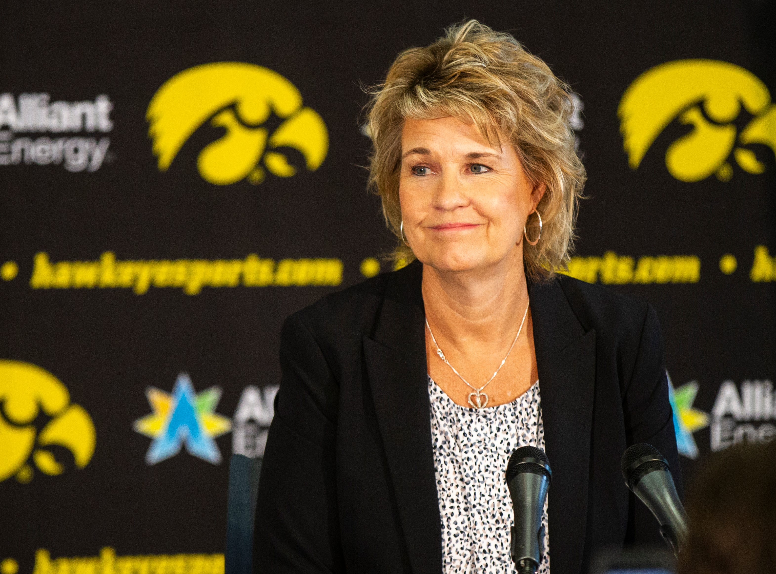 Iowa head coach Lisa Bluder speaks with reporters during Hawkeye women's basketball media day on Wednesday, Oct. 31, 2018, at Carver-Hawkeye Arena in Iowa City.
