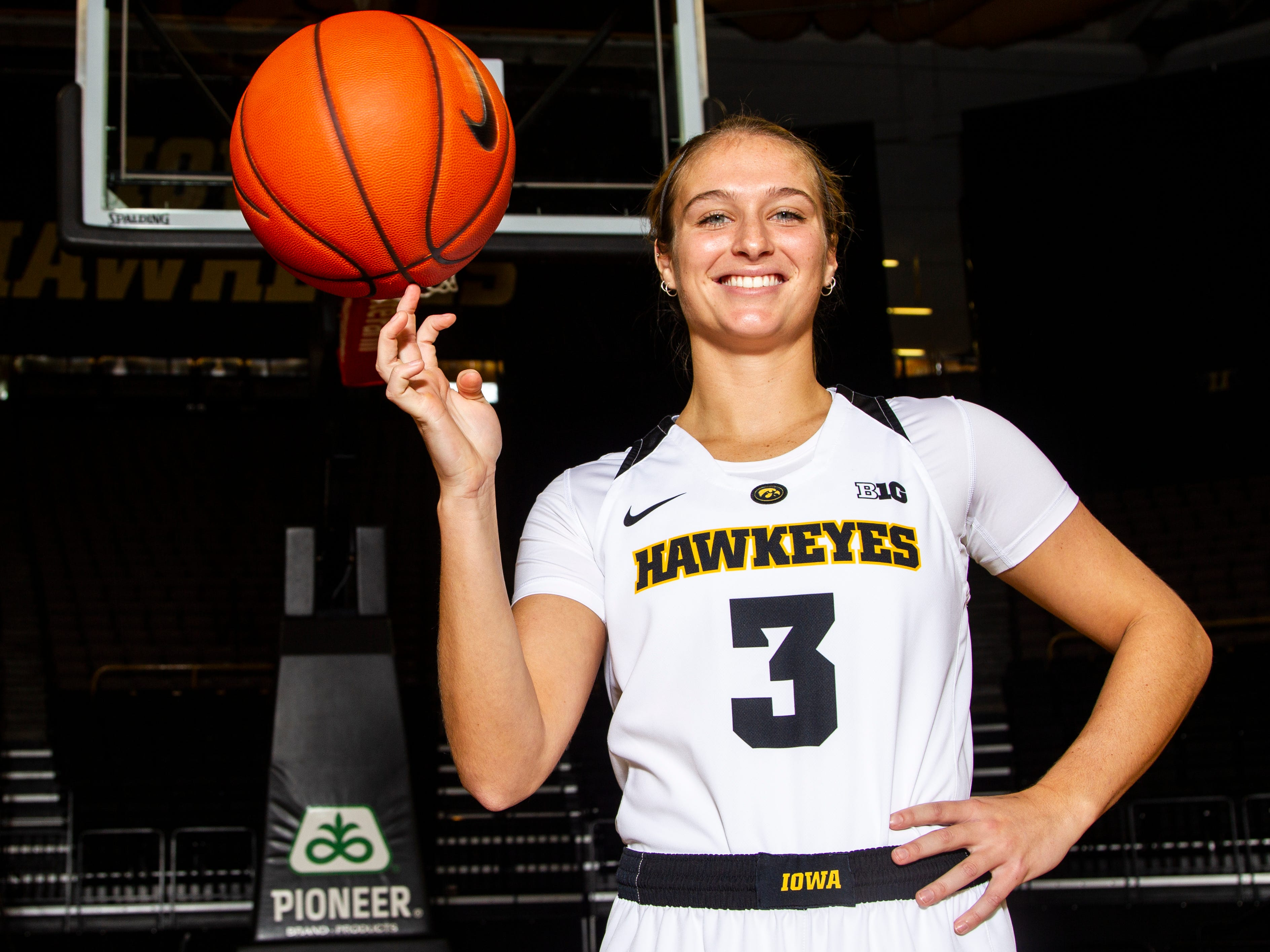 Iowa guard Makenzie Meyer (3) poses for a portrait during Hawkeye women's basketball media day on Wednesday, Oct. 31, 2018, at Carver-Hawkeye Arena in Iowa City.