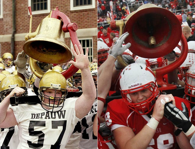 DePauw and Wabash football teams play annually for the Monon Bell, which was introduced into the rivalry in 1932. The teams were scheduled for their 125th matchup in 2018.