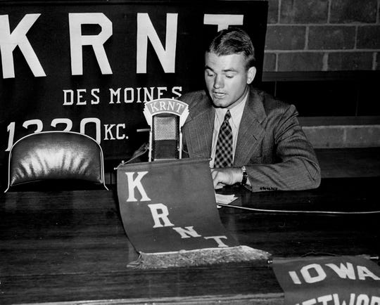 Nile Kinnick signed on to do color commentary for University of Iowa football games on KRNT-WMT, Cowles' radio stations in Iowa.