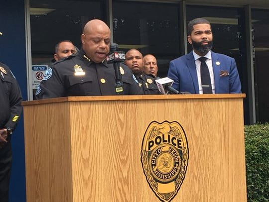 Jackson Police Department Chief James Davis addresses the media at the induction of recruits to the Jackson Police Training Academy on Sept. 3, 2018, while Mayor Chokwe Antar Lumumba listens in.