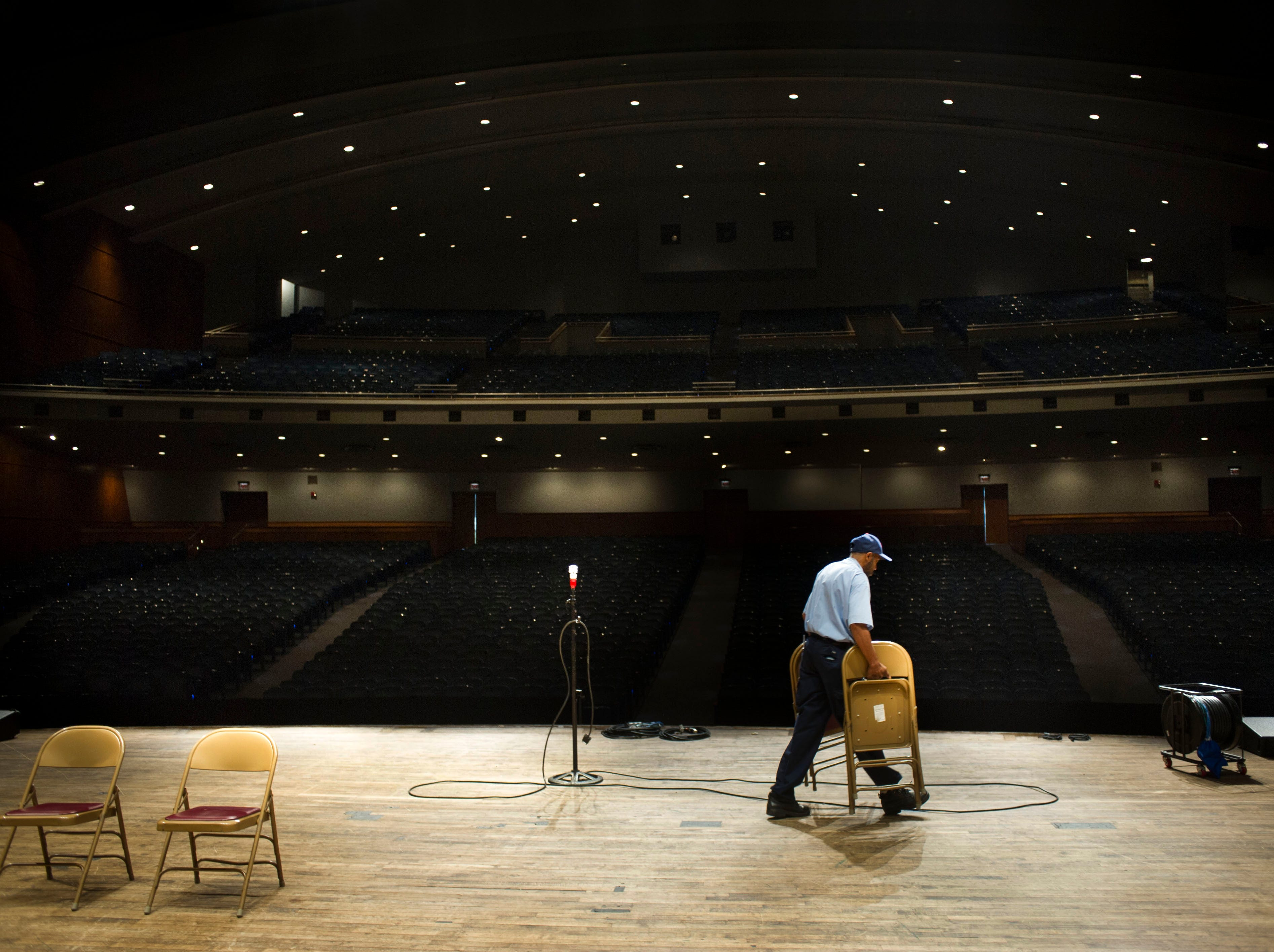 Ceddy Taylor prepares the stage for the upcoming Southeastern Stomp Fest Thursday, Oct. 9, 2014, at the Knoxville Civic Auditorium. The Urban Land Institute, an urban planning and design research firm, is studying five sites in or near downtown, including the Civic Auditorium and Coliseum, in order to give recommendations for improvement.