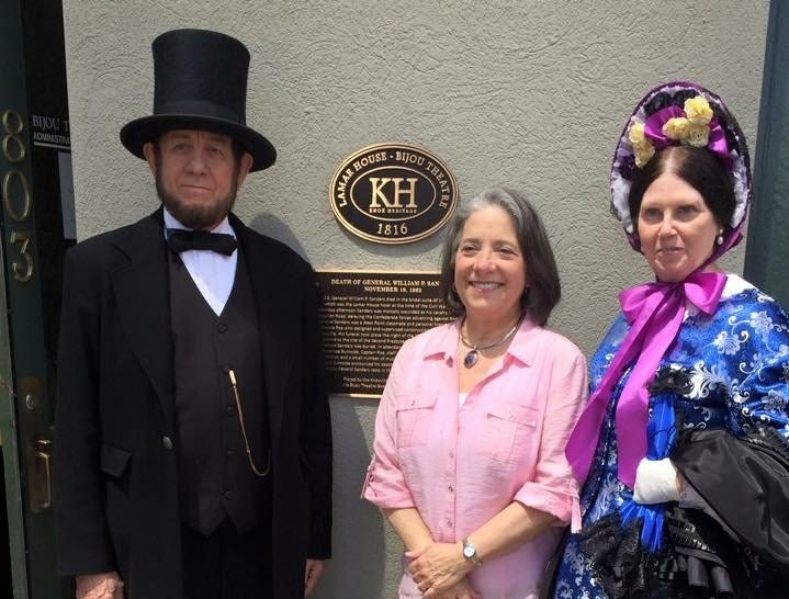 Contributed Photo From left, Tom Wright, Knoxville Mayor Madeline Rogero and Sue Wright attended the Plaque Dedication commemorating the death of Gen. William P. Sanders at the Bijou Theatre presented by the Knoxville Civil War Round Table in 2015.