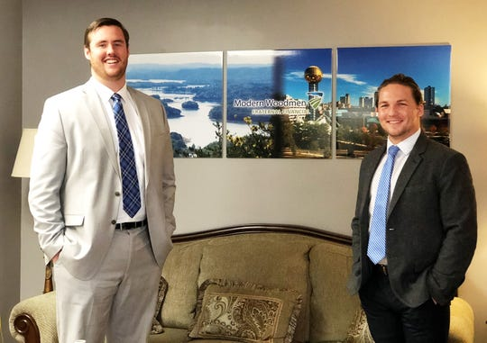 """Charlie Pratt and Nate Caldwell in Modern Woodmen Fraternal Financial's main regional office for East Tennessee on Essary Road in Fountain City. """"I am so blessed to be able to make a living by helping others as well as their communities,"""" said Pratt. """"Each day, I sit down and help people overcome financial concerns and obstacles. I also get to help my community with our fraternal programs and activities. It's very rewarding to be able to do what I do."""""""