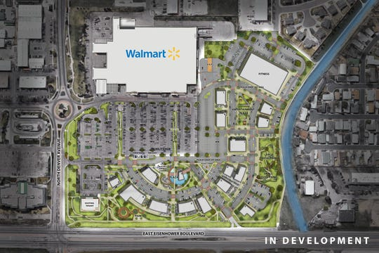 """This rendering displays a reimagined """"town center"""" Walmart complex that will be developed in Loveland, Colorado. Ground breaks next spring."""