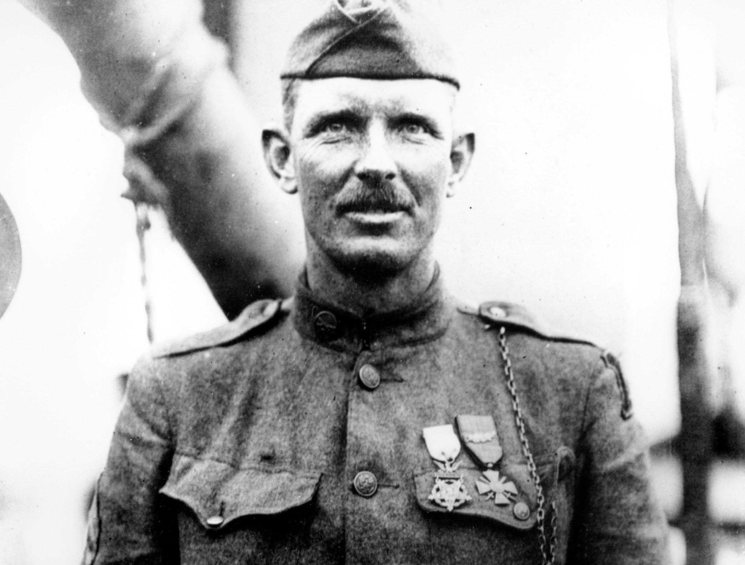 This is a 1919 photo of Sgt. Alvin York of the U.S. Army in an unknown location. Two Tennessee researchers who think they pinpointed the World War I battlefield where Sgt. Alvin C. York's valor earned him a Medal of Honor.  (AP Photo/Department of U.S. Army)