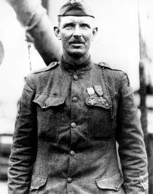 Sgt. Alvin C. York in 1919 in an unknown location.