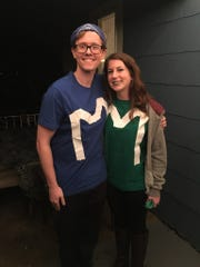 Matt and Maggie Lutey dressed up as M&Ms for Halloween this year.