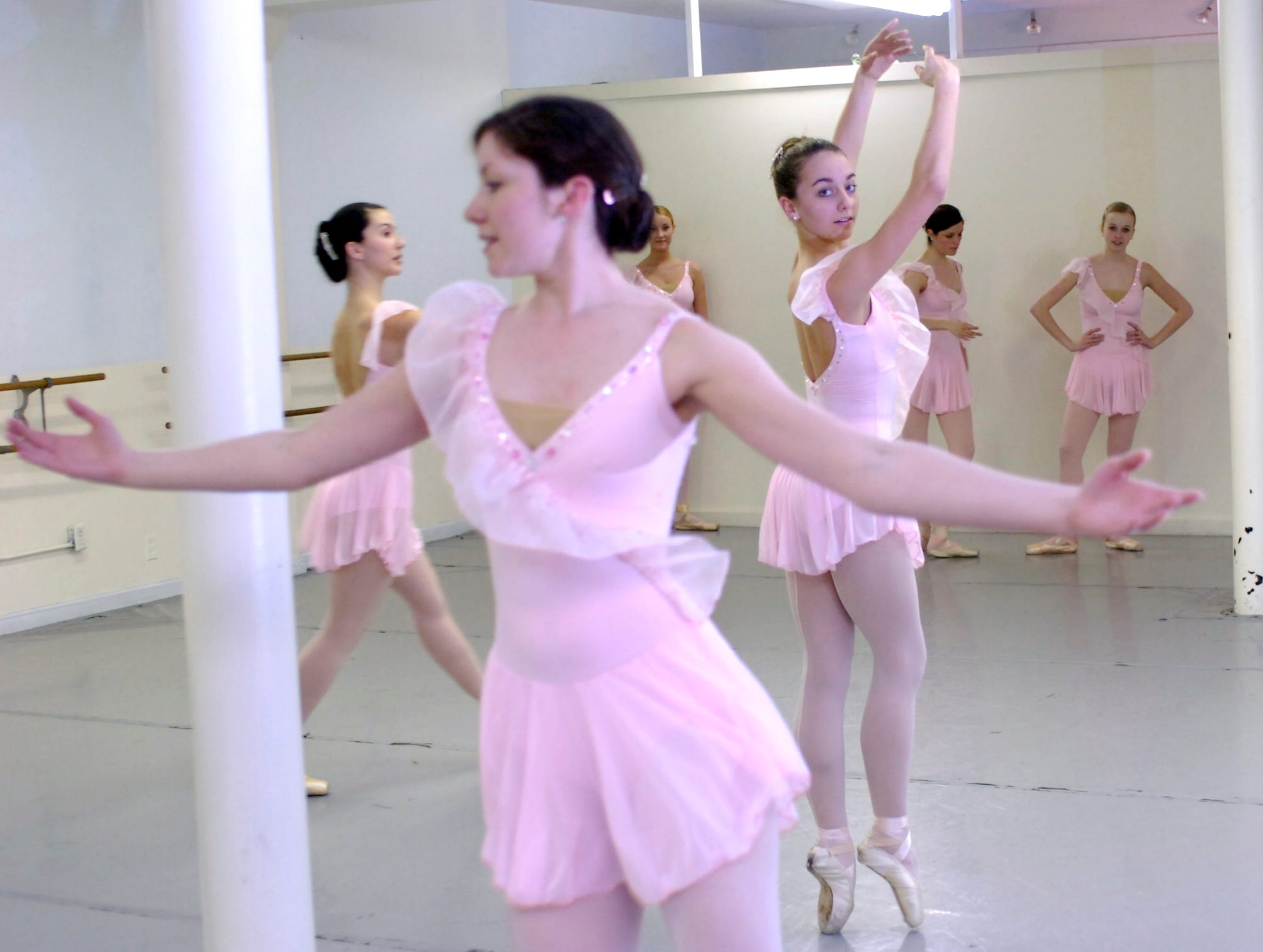 From left, Heather Wilcoxon, Sarah Dickinson, Megan Baker, Anne Souder, Caroline Anglim, and Chandler Blum rehearse the Appalachian Ballet Company's Spring Concert at their studios in Maryville Thursday. The Appalachian Ballet Company is rehearsing for their Spring Concert to be performed at the Bijou Theatre on March 29 at 2:00 and 8:00 p.m. Photo by Saul Young, Knoxville News Sentinel staff