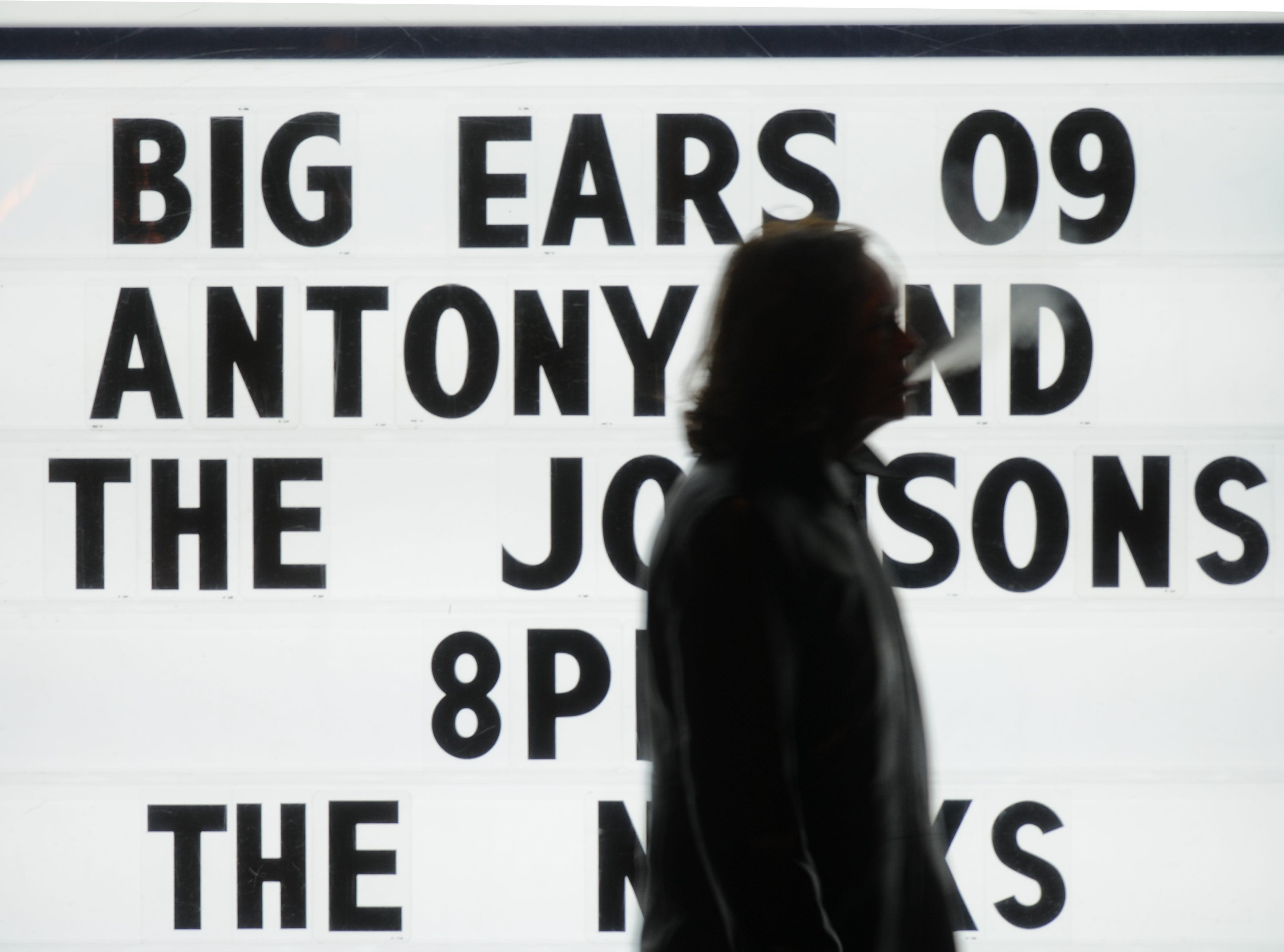 A concert goer walks past the marquee after a show by Antony and the Johnsons during the Big Ears festival on Saturday, Feb. 7, 2009 at the Bijou Theatre.