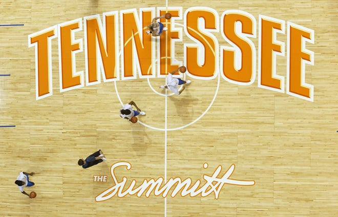 "The Tennessee Lady Vols go through drills during practice Thursday, Nov. 2, 2005 in Knoxville, Tenn. The court at Thompson-Boling Arena was named ""The Summitt"" in honor of coach Pat Summitt, who became the NCAA's all-time winningest coach last spring."