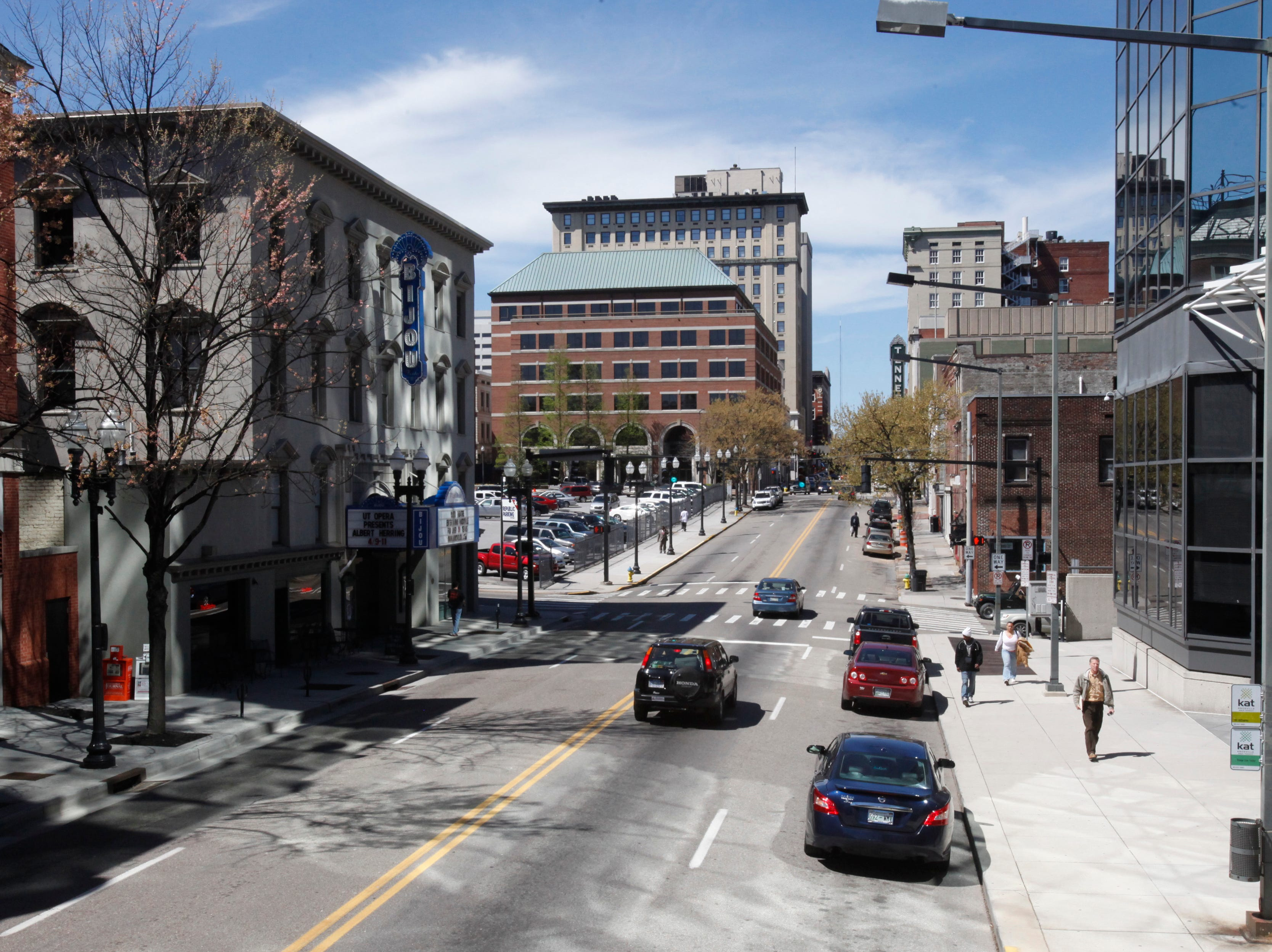 The intersection of Gay Street and Cumberland Avenue is seen Tuesday, April 5, 2011. The Bijou Theatre is at left.