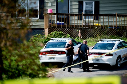 Knox County Sheriffs arrive at the scene of a shooting on Smith Lane in South Knoxville, Tennessee on Wednesday, October 31, 2018.