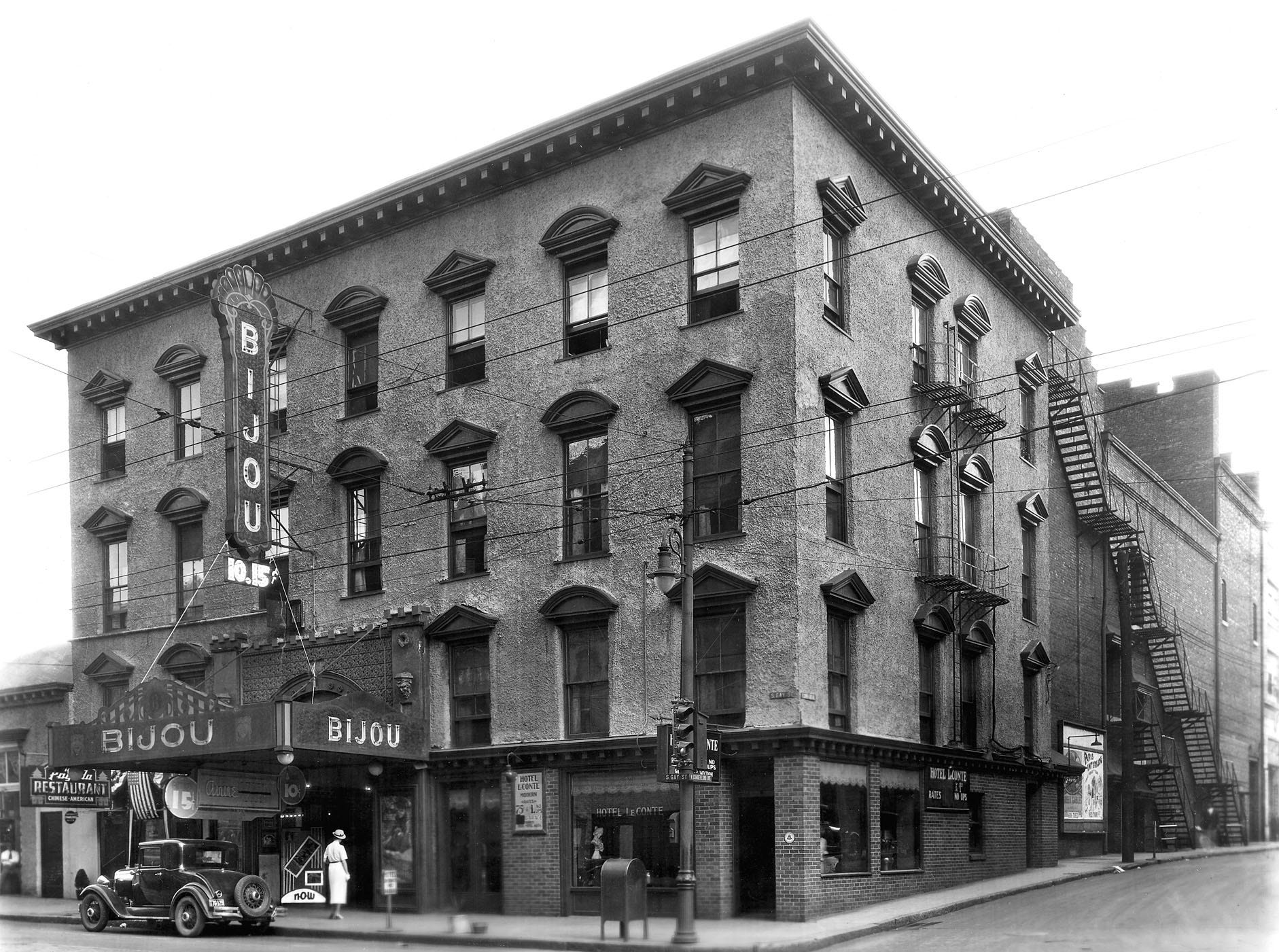 """Bijou Theatre exterior, circa 1935. """"The 95-year-old, 750 seat theater has earned a reputation as the most acoustically perfect theater in the region, and it's got a deep history not even the Tennessee can touch..."""""""