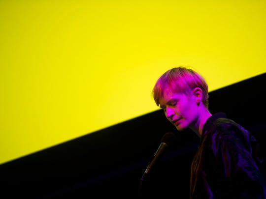 Jenny Hval performs at the Bijou Theatre as part of Big Ears Festival in downtown Knoxville on Friday, March 23, 2018.