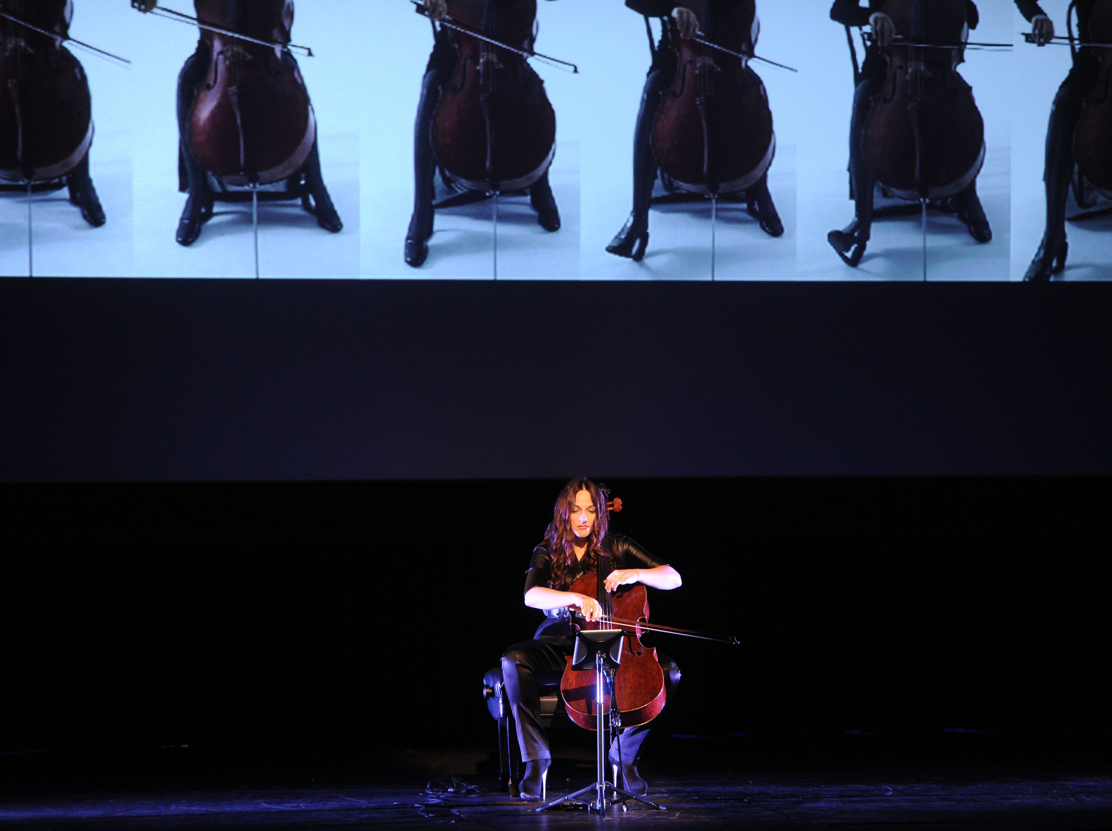 Maya Beiser performs at The Bijou Theatre during the Big Ears Festival in Knoxville on Saturday, April 2, 2016.