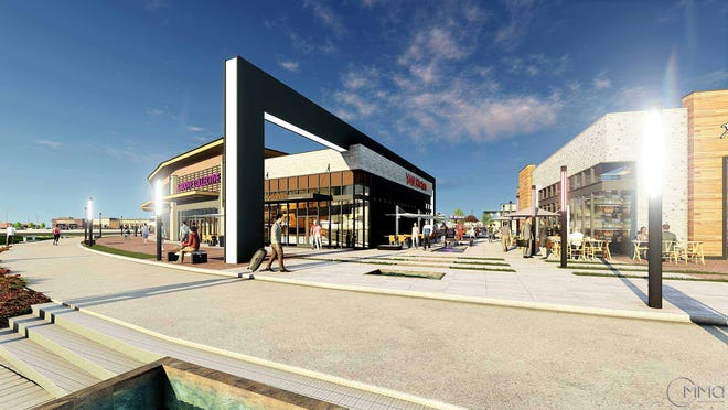 """This rendering displays a reimagined """"town center"""" Walmart complex that will be developed in Iowa."""