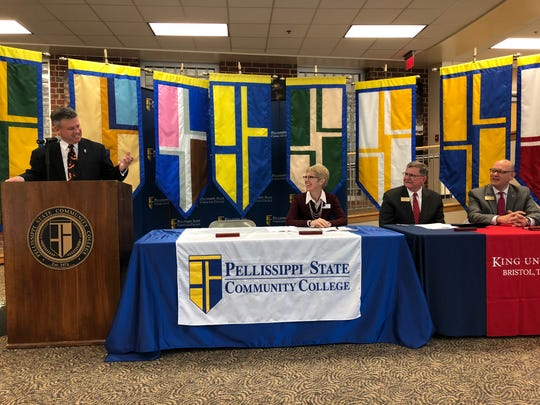 Pellissippi State Community College President Anthony Wise speaks about the dual admission agreement with King University on Wednesday morning. The agreement will allow students who complete an associate's degree at Pellissippi State to enroll at King University to complete a bachelor's degree.