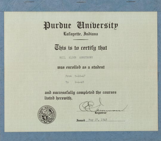 The Armstrong Family Collection, with memorabilia from Neil Armstrong, goes up for auction Nov. 1 and 2, 2018, includes Armstrong's certificate of completion for his first two years at Purdue University.