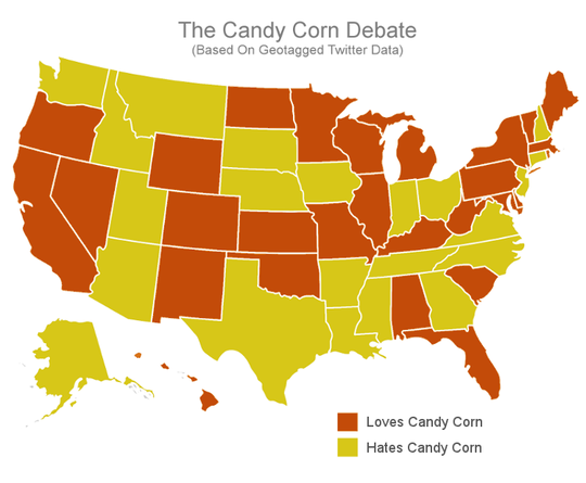 """The staff at The Daring Kitchen tracked 100,000 geotagged tweets about """"candy corn"""" during October."""