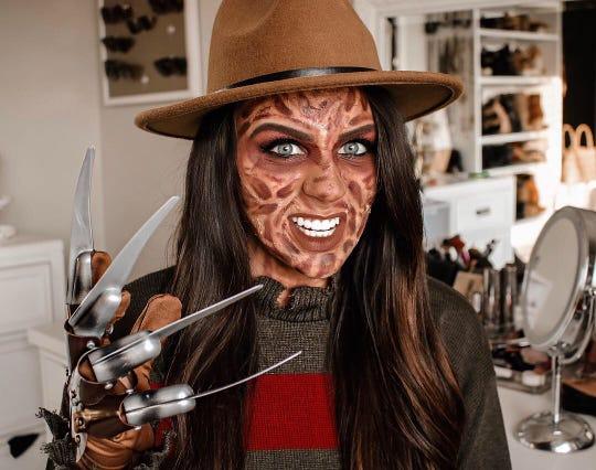 Sierra Jackson wore her Freddie Krueger costume to work in Indy.