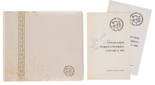 The Armstrong Family Collection, with memorabilia from Neil Armstrong, goes up for auction Nov. 1 and 2, 2018, includes programs and photos from the 1970 convocation when Purdue game Armstrong an honorary doctorate.