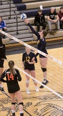 Hartland's Gabbi Skinner (8) had 13 kills and three solo blocks in a district semifinal volleyball loss to Brighton on Tuesday, Oct. 30, 2018.
