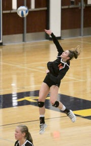 Celia Cullen of Brighton served four aces against Hartland in a district volleyball semifinal on Oct. 30, 2018.