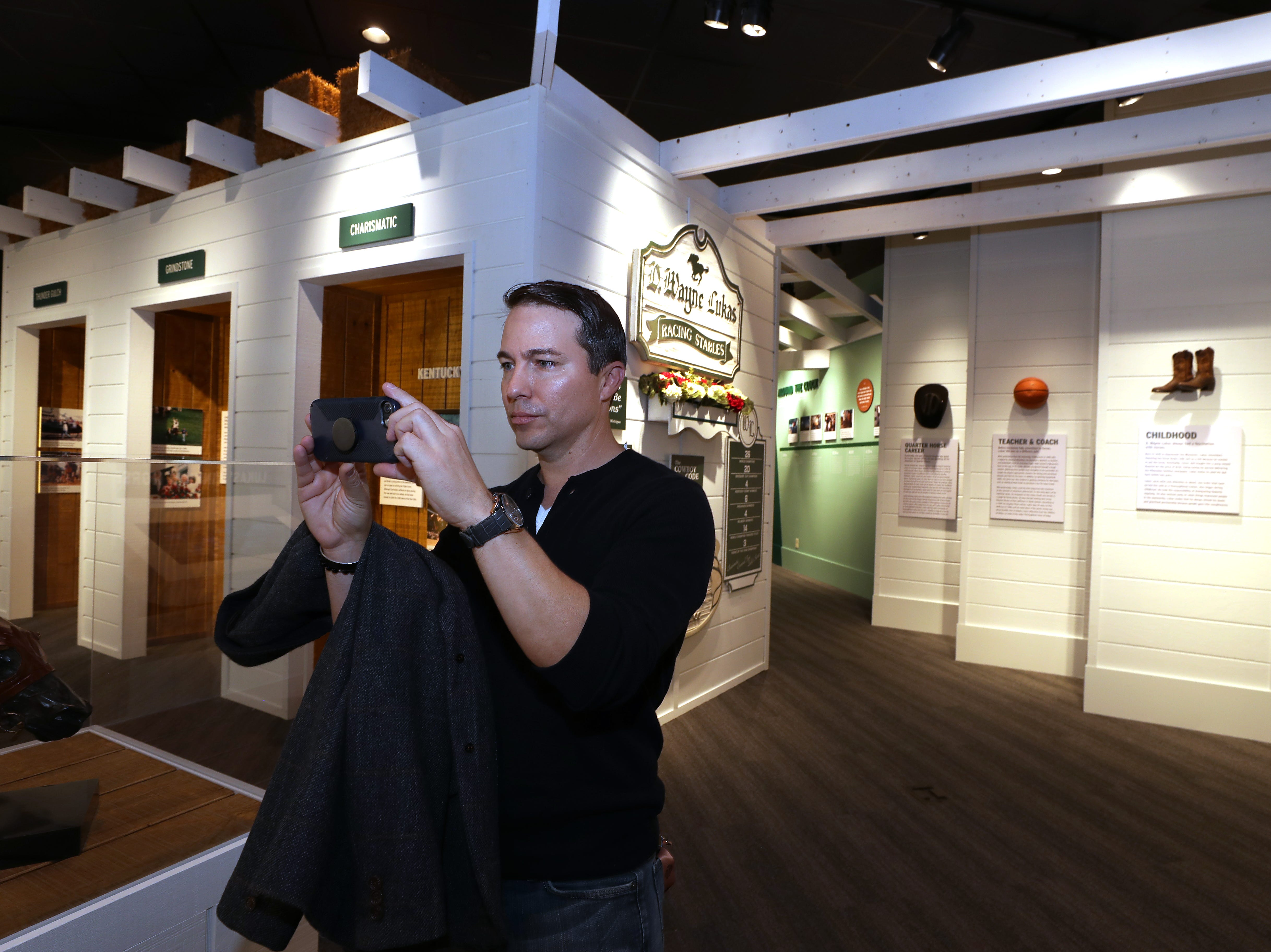 Laffit Pincay, of NBC Sports, takes a tour of the Kentucky Derby Museum expansion ahead of the grand exhibit reveal.  He was viewing the D. Wayne Lukas gallery.  Pinclay will be the master of ceremonies for the event.  Oct. 31, 2018