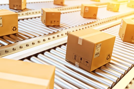 Packages Delivery Packaging Service And Parcels Transportation System Concept