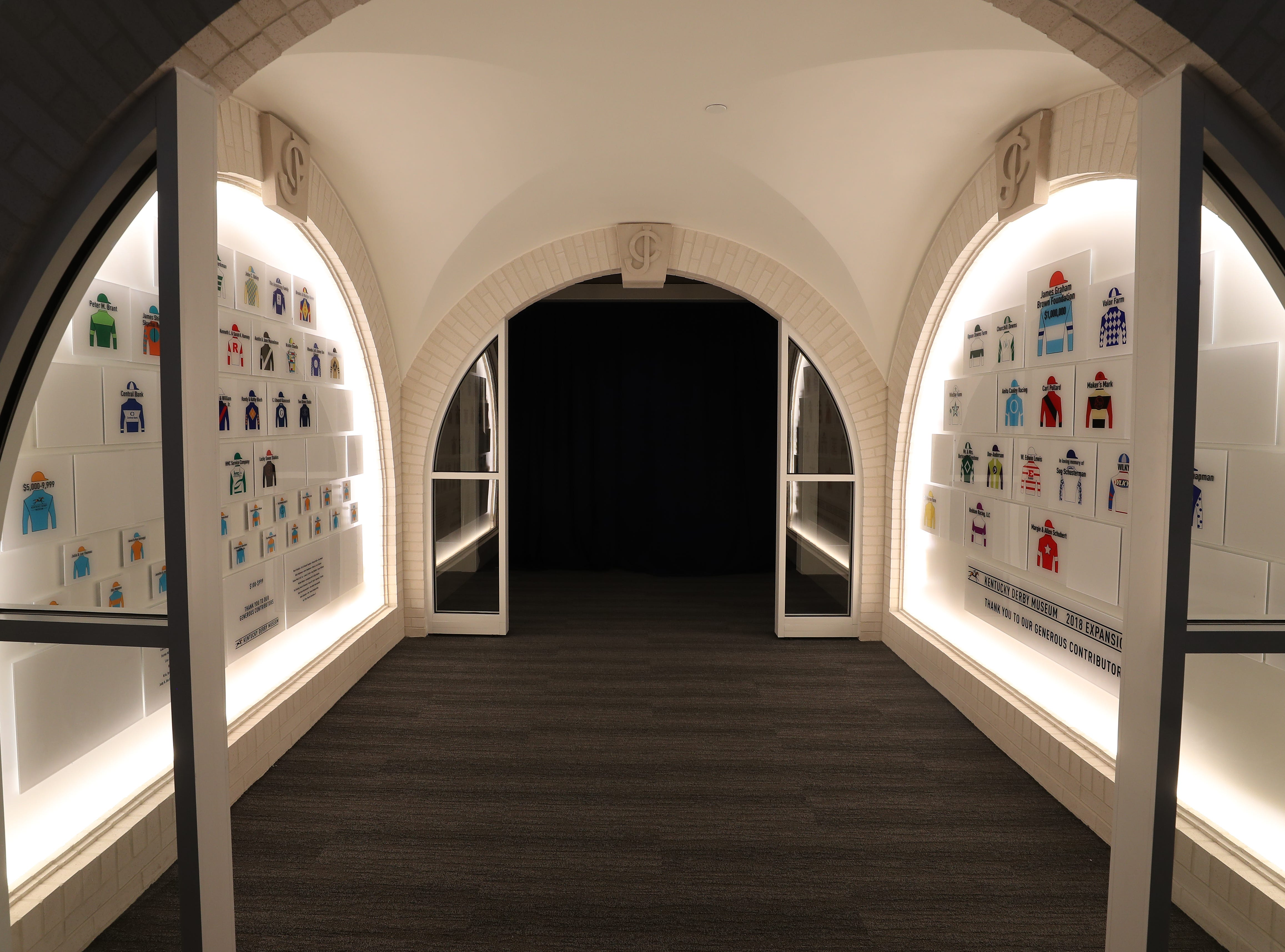 The entrance tunnel to the new Kentucky Derby Museum expansion highlights donors.  The museum has added two new galleries featuring D. Wayne Lukas and Bill Shoemaker.    Oct. 31, 2018
