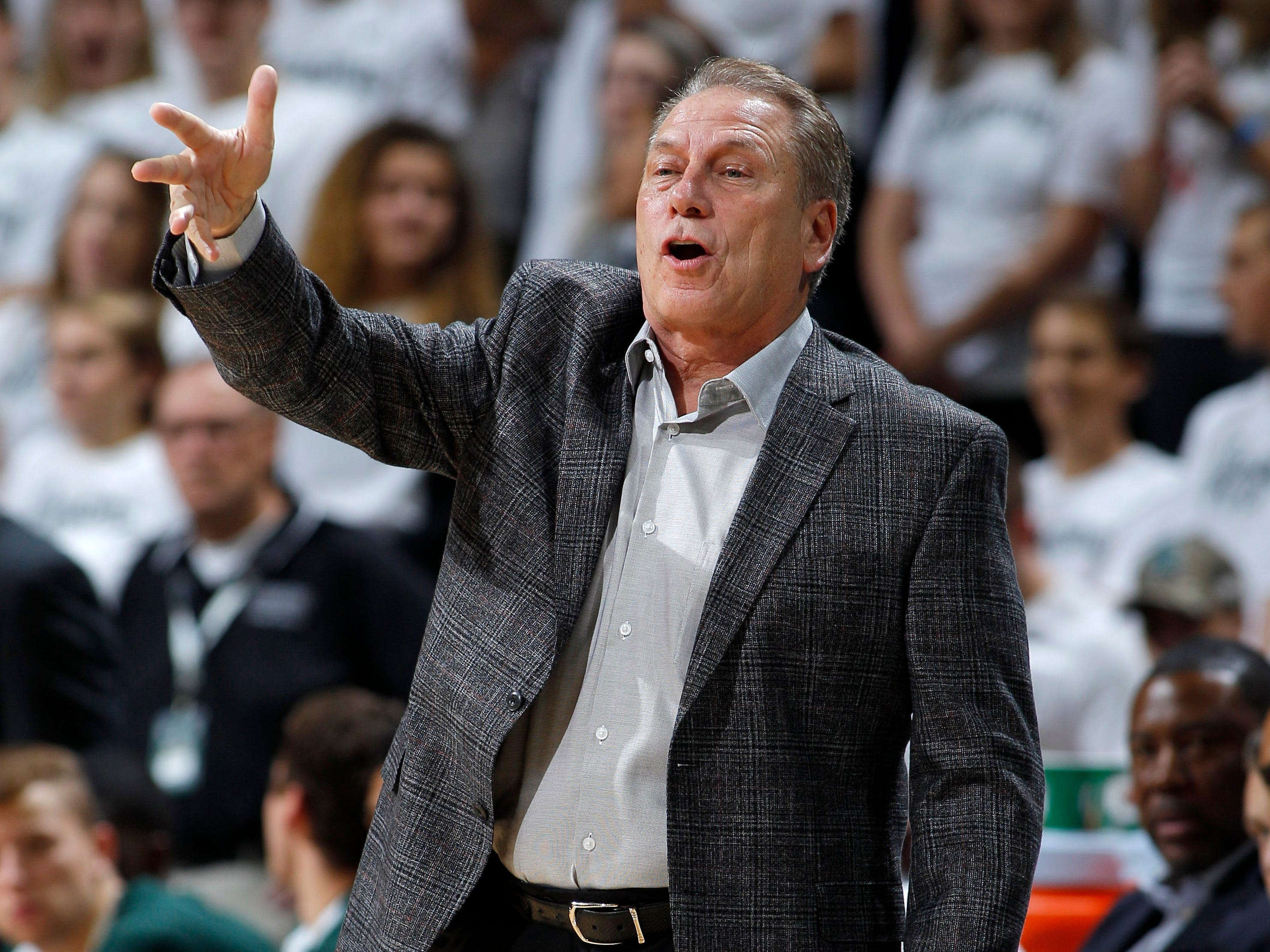 Michigan State coach Tom Izzo gives instructions against Northern Michigan, Tuesday, Oct. 30, 2018, in East Lansing, Mich.