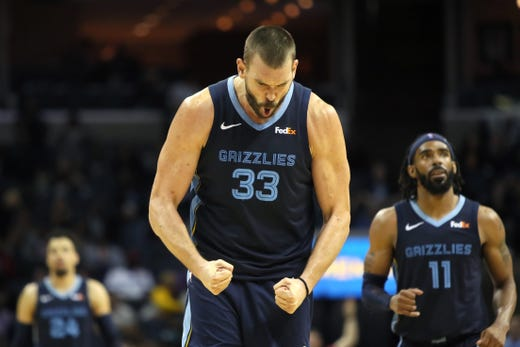 Memphis Grizzlies center Marc Gasol celebrates a made 3-pointer against the Washington Wizards during their game at the FedExForum on Tuesday, Oct 30, 2018.