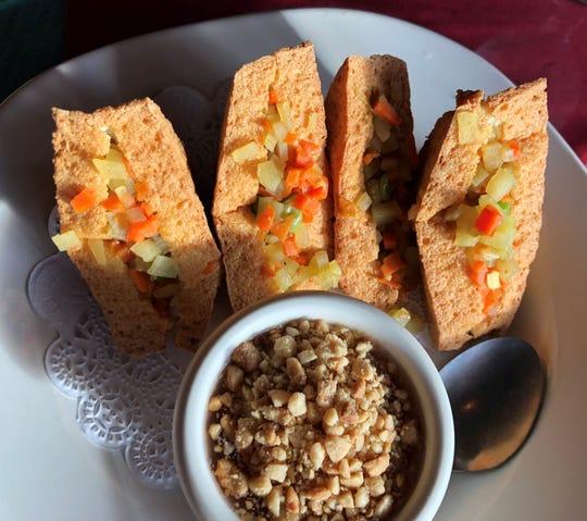 Siam tofu, deep fried crispy tofu, stuffed with potato, onions and carrots, from Siam Thai & Sushi Naples.