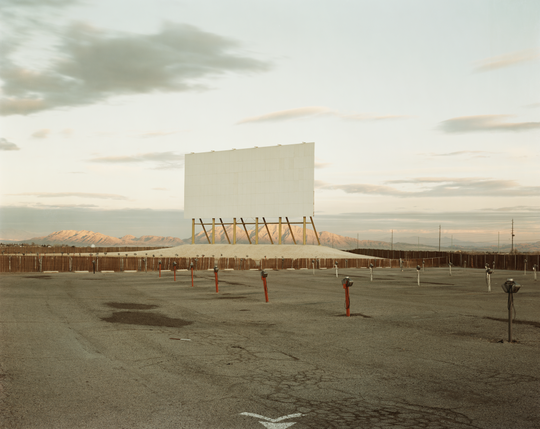 """San Quentin inmate Michael Nelson spent time in solitary confinement in 2011, looking at this photograph by Richard Misrach, titled """"Drive-in Theatre, Las Vegas,"""" alongside another by Hiroshi Sugimoto. Nelson wrote an insightful essay about time, media, change and a sense of being left behind."""
