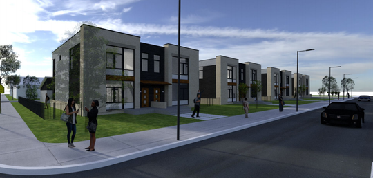 Four new condo buildings, each with two units, would be part of a proposed conversion of the former William McKinley School into housing.