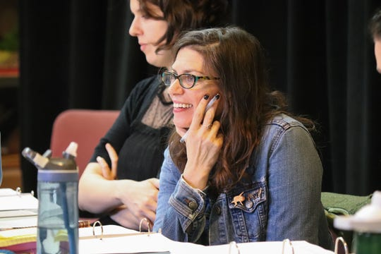 "Director Kimberly Senior enjoys the first day of rehearsal for Milwaukee Repertory Theater's production of ""Miss Bennet: Christmas at Pemberley."""