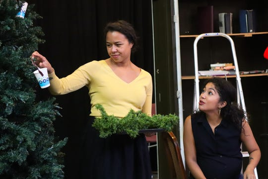"""Margaret Ivey (left) and Sarai Rodriguez portray sisters in Milwaukee Repertory Theater's production of """"Miss Bennet: Christmas at Pemberley."""""""